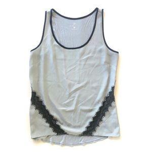 M NY&C Sleeveless Lace Top Shell Grey Black Career